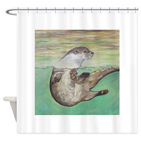 Playful River Otter Shower Curtain By Admin CP131533928