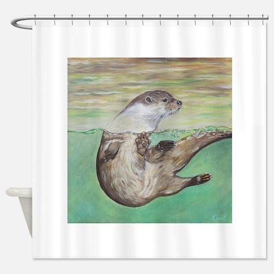 Playful River Otter Shower Curtain