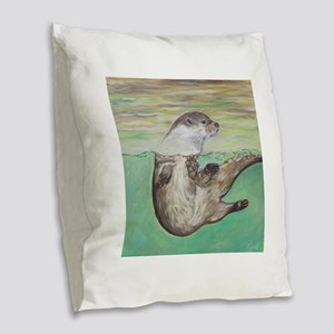 Playful River Otter Burlap Throw Pillow