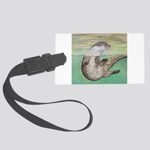 Playful River Otter Large Luggage Tag