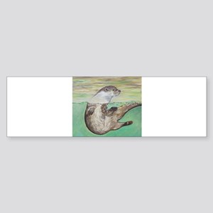 Playful River Otter Bumper Sticker
