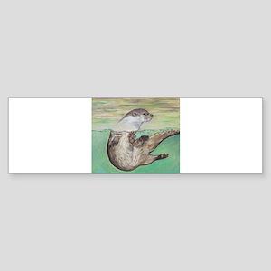 Playful River Otter Bumper Sticker