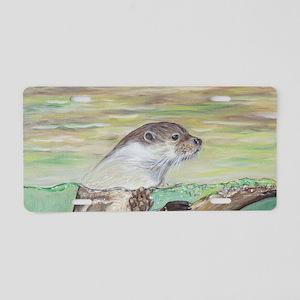 Playful River Otter Aluminum License Plate