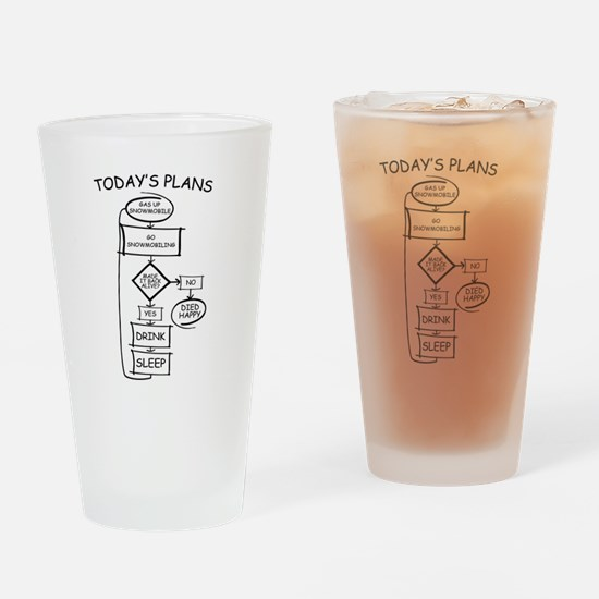 Snowmobiling Flow Chart Humor Drinking Glass