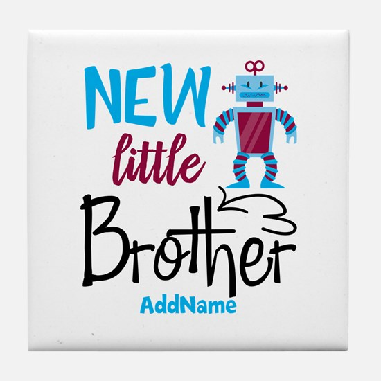 Little Brother Robot Personalized Tile Coaster