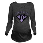 JC Superstar in purple Long Sleeve Maternity T-Shi