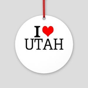 I Love Utah Round Ornament