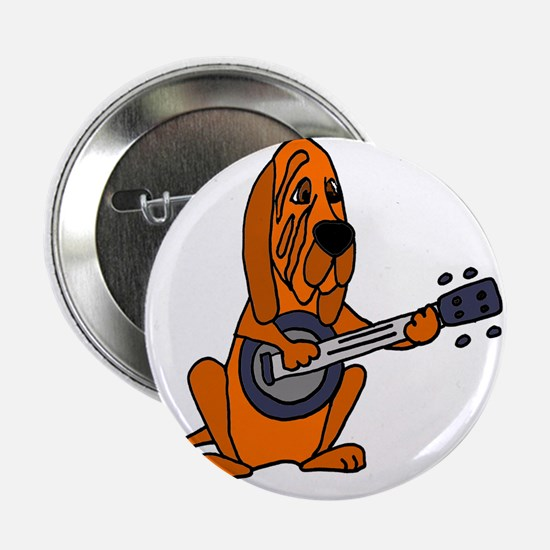 "Bloodhound Playing Banjo 2.25"" Button"