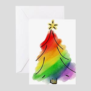 rainbow xmas tree_tr greeting cards - Gay Pride Christmas Decorations