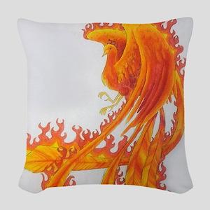 Firey Phoenix Woven Throw Pillow