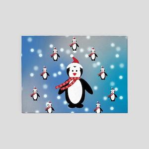 Many Penguins 5'x7'Area Rug