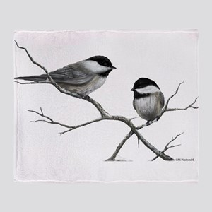 chickadee song bird Throw Blanket