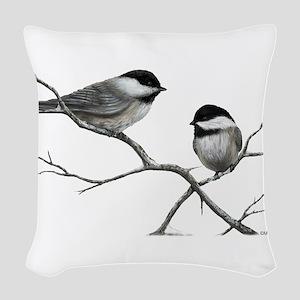 chickadee song bird Woven Throw Pillow