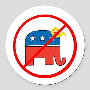 No Trump, Republican elephant Round Car Magnet