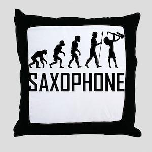 Saxophone Evolution Throw Pillow