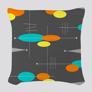 Space Age Spheres Woven Throw Pillow