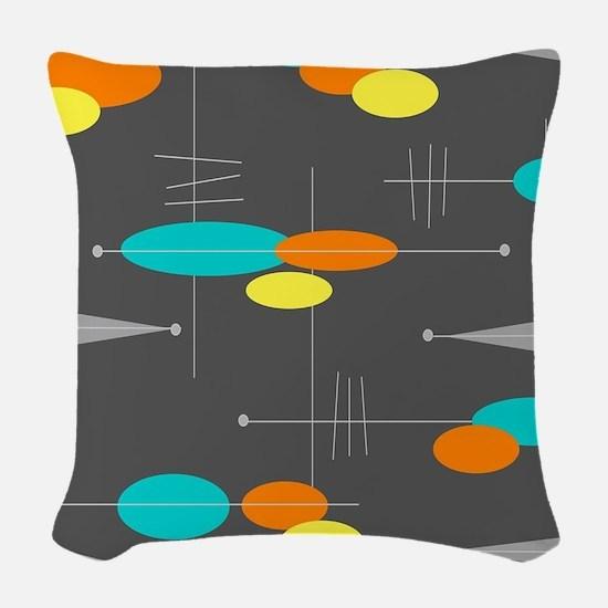 Space Age Spheres Woven Throw Pillow