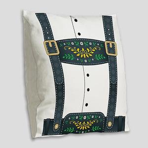 Lederhosen Oktoberfest Burlap Throw Pillow