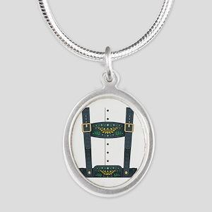 Lederhosen Oktoberfest Silver Oval Necklace