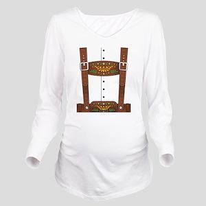 Lederhosen Oktoberfe Long Sleeve Maternity T-Shirt