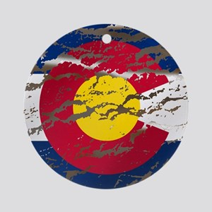 Colorado Vintage Flag Round Ornament