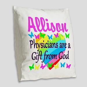 CHRISTIAN DOCTOR Burlap Throw Pillow