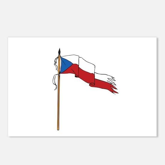 Flag Czech Republic Torn Ripped Retro Postcards (P