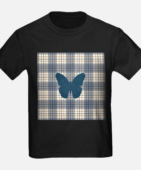 Butterfly on Plaid Bls Br Crm T-Shirt