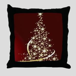Christmas Tree Sparkling Glitter Holi Throw Pillow
