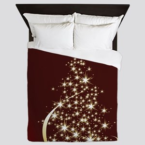 Christmas Tree Sparkling Glitter Holid Queen Duvet