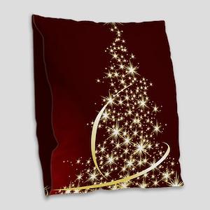 Christmas Tree Sparkling Glitt Burlap Throw Pillow
