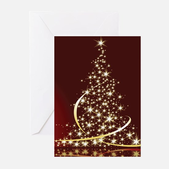 Christmas Tree Sparkling Glitter Ho Greeting Cards
