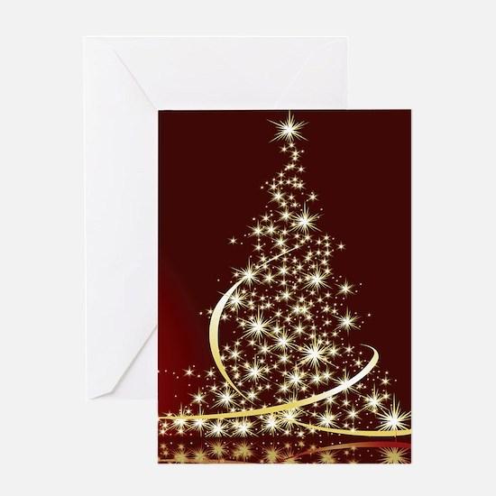 Christmas Tree Sparkling Glitter Ho Greeting Cards