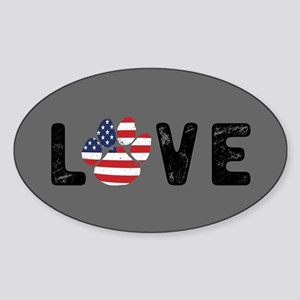 LOVE Paw Print Sticker (Oval)