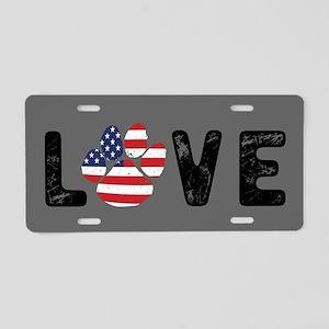LOVE Paw Print Aluminum License Plate