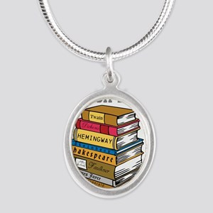 English Major Silver Oval Necklace