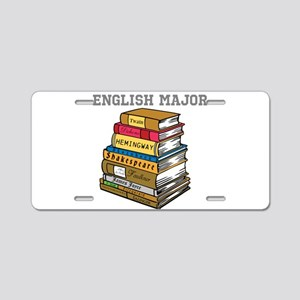 English Major Aluminum License Plate