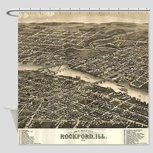 Vintage Map of Rockford Illinois (1 Shower Curtain