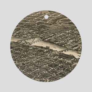 Vintage Map of Rockford Illinois (1 Round Ornament