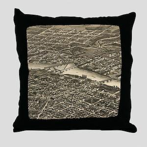 Vintage Map of Rockford Illinois (188 Throw Pillow