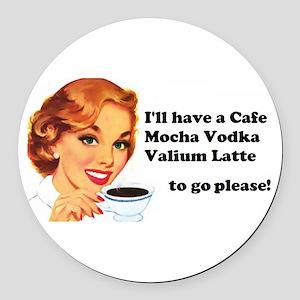 Vodka Latte ToGo Round Car Magnet