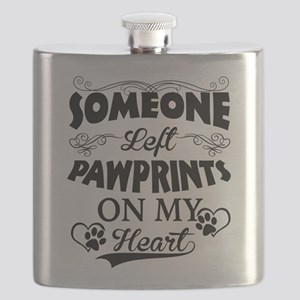 Someone Left Pawprints On My Heart Flask
