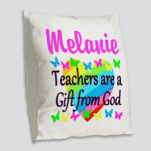 TEACHER PRAYER Burlap Throw Pillow