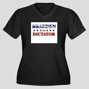 BRAEDEN for dictator Women's Plus Size V-Neck Dark