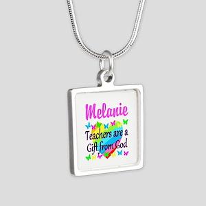 TEACHER PRAYER Silver Square Necklace