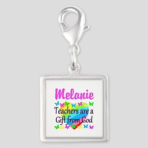 TEACHER PRAYER Silver Square Charm