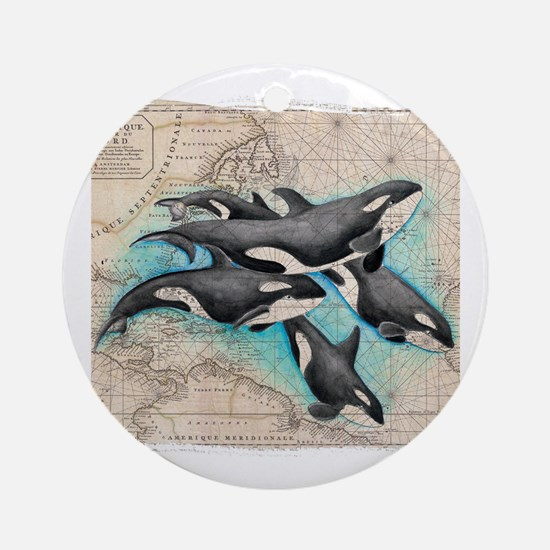 Unique I love killer whales Round Ornament
