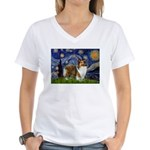Starry / Sheltie (s&w) Women's V-Neck T-Shirt