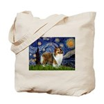 Starry / Sheltie (s&w) Tote Bag