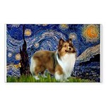 Starry / Sheltie (s&w) Sticker (Rectangle)